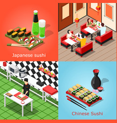 isometric sushi bar concept vector image