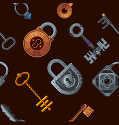 keys and locks seamless pattern vintage vector image