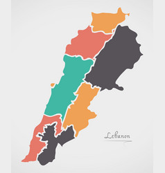 lebanon map with states and modern round shapes vector image