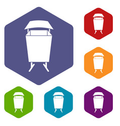 litter waste bin icons set hexagon vector image