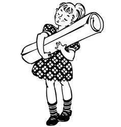 Little girl with the big roll of paper vector