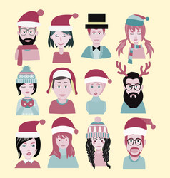 man and woman in the santa hat men and women vector image