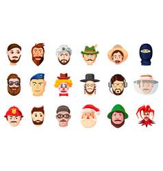 man head icon set cartoon style vector image