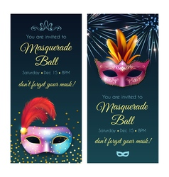 Masquerade Ball Invitation Banners vector