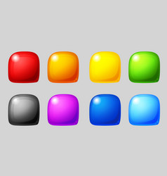 match 3 icons colorful glossy shapes for game vector image
