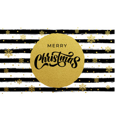 merry christmas calligraphy lettering on golden vector image