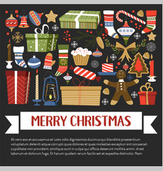 merry christmas xmas celebration winter holidays vector image