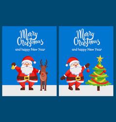 merry xmas happy new year posters santa deer tree vector image