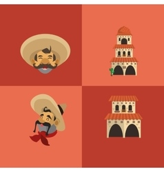 mexican culture related icons image vector image