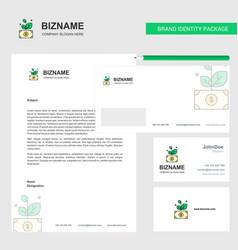 money plant business letterhead envelope and vector image