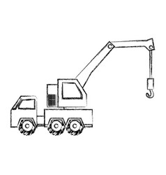 Monochrome contour hand drawing of tow truck vector