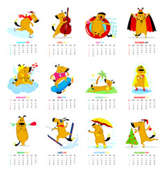 Monthly calendar 2018 with cute dogs vector