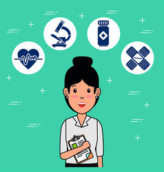nurse medical center professional cartoon vector image