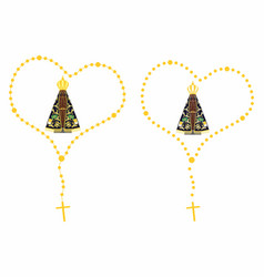 Our lady aparecida colored rosary vector
