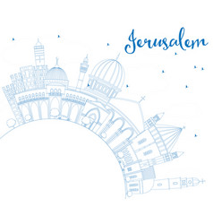 outline jerusalem skyline with blue buildings and vector image