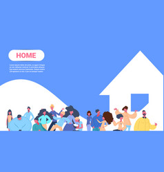 People group standing in front of house together vector