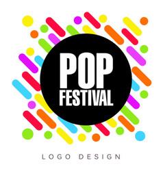 Pop festival logo template creative banner vector