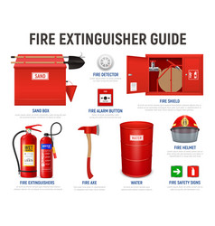 Realistic fire fighter guide vector