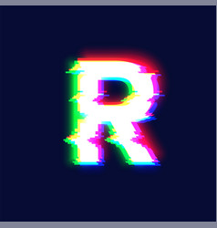 realistic glitch font character r vector image