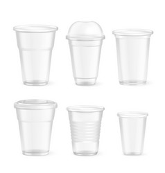 realistic plastic disposable glasses set vector image