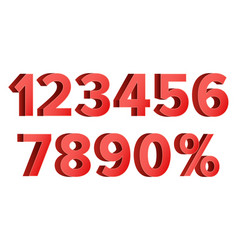 red discount numbers set figures from 0 to vector image