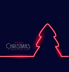 red neon christmas tree background vector image
