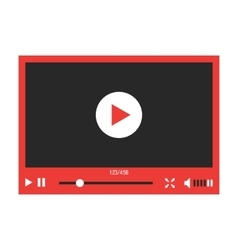 Red video player interface isolated on white vector