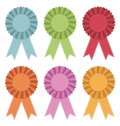 rosettes with ribbons vector image