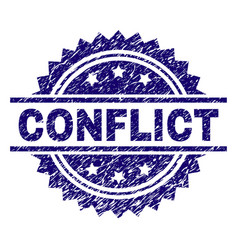 Scratched textured conflict stamp seal vector