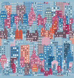 seamless background with city building blue vector image