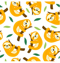 seamless pattern with sloth vector image