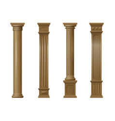 set of classic wood columns vector image