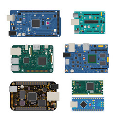 Set of electronic circuit boards vector
