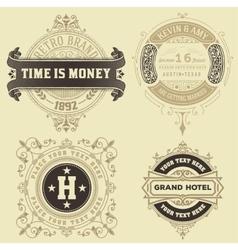 set vintage logo templates hotel restaurant vector image