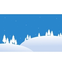 Silhouette of hill christmas winter landscape vector