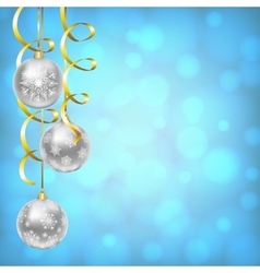 Silver balls with snowflakes ornament vector