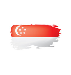 Singapore flag on a white vector