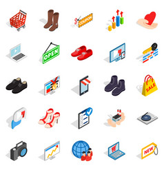smart advertising icons set isometric style vector image