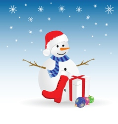 snowman with gift color vector image