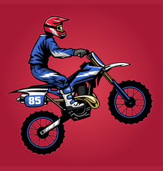 Standing motocross rider ride bike vector