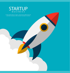 startup business rocket launch vector image
