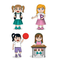 student girls cartoons vector image