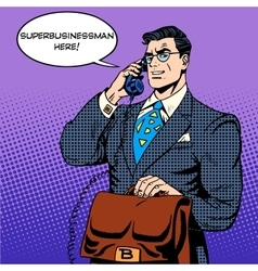 Super businessman hero talking phone success vector image
