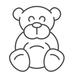 teddy bear thin line icon plush toy vector image