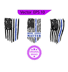 thin blue line us flag police blue line vector image