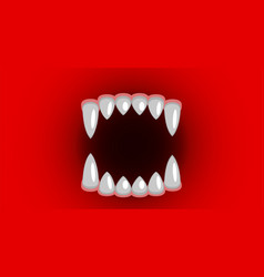 Vampire fangs canines on red background vector