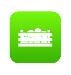 watermelons in wooden crate icon digital green vector image