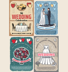 Wedding and marriage celebration vintage posters vector