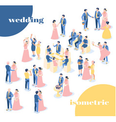 wedding isometric icons recolor set vector image