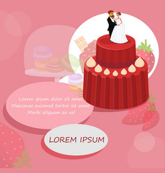Wedding red cake with newlyweds drawing vector